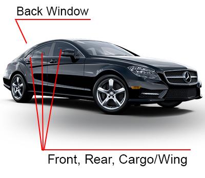 Car window film coverage on 4 door vehicles