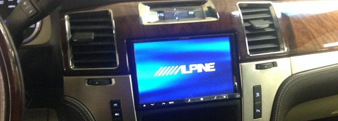 Alpine 8 Inch Navigation System Installed In A Cadillac